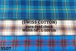 Swiss cotton yarn dyed check shirting fabric