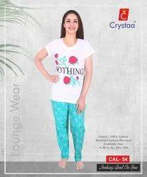 White Women Ladies Lounge Wear Pyjamas Set, Size: S-xl