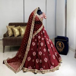 Present Banglory Satin With Embroidery Work Lahenaga