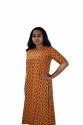 Casual Wear Fancy Block Print Cotton Kurti