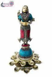 Nirmala Handicrafts Brass Handicrafts Lady Diya Stand Temple/Table Decor Showpiece Gift Item