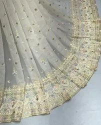 Long Width Georgette Embroidered Fabric-Dyeable