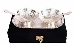 Ac Anand Crafts Silver Plated Bowl Spoon And Tray Set
