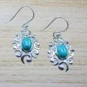925 Sterling Silver Jewelry Nice Turquoise Gemstone Earring WE-4029