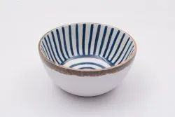 Brown Round Wooden Printed Bowls, For Restaurants, Size: Small