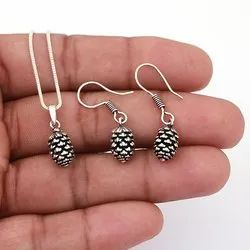Necklace Set 925 Sterling Silver Oxidized Pineapple Design Jeew, Size: 21 X 8 Mm
