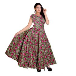 Printed Frocks & Dresses Womens Cotton Summer Dress, Size: Free Size