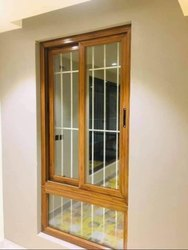 Brown Glossy Aluminium Casement Window, Size/Dimension: 7x4 Feet