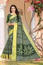 Leranath Fashion Casual Wear Cotton Linen Shibori Print Ladies Saree, With Blouse Piece, 5.5 m (separate blouse piece)
