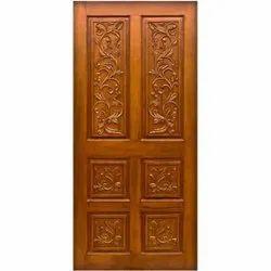 Interior Carved Teak Wood Door, Size: 6.5 X 3.2 Feet (l X B)