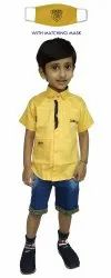 1-10 Years Kids Casual Cotton Shirt With Denim Shorts, Size: 16-32