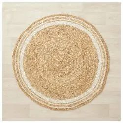 Natural Jute Braided Rug with Ivory Border