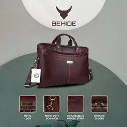BEHIDE Men Genuine Leather Bag, Size: 15.6-Inch