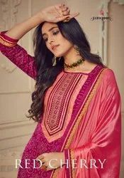 Rangoon Red Cherry Jam Silk Print With Embroidery Readymade Suit Catalog