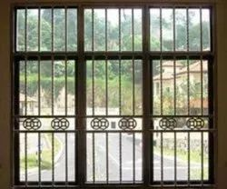 Polished Iron Window Grill, For Home, Office, Rectangle