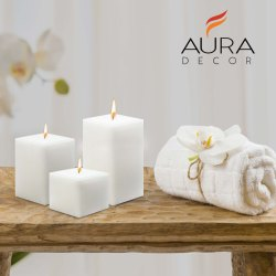 AuraDecor 3 Inch Square White Unscented Pillar Candle
