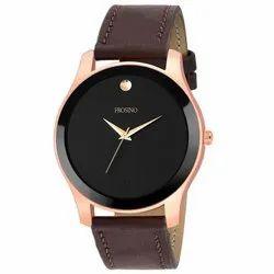 mans wrist rose gold brown straps watch