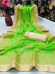 SUMSHY Party Wear Pure Chiffon Saree, With Blouse Piece, 6.3Mtr