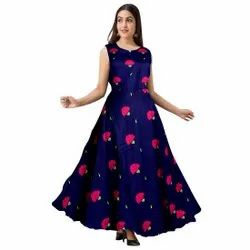 Rayon Printed Blue Wedding Gown, Size: Free Size