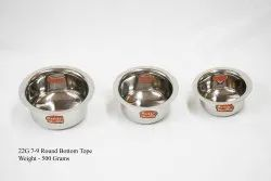 Silver Stainless Steel 500 Gm Round Bottom Tope, For Home, Size: 7-9 Inches