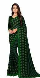 Green Party Wear Designer Jolly Dani Printed Saree, 6 m (with blouse piece)
