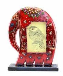 Multicolor Wooden Decorative Handicraft Elephant Home Decor, For Decoration, Size: 11x9x2.25 Inch