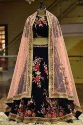 PRESENT VELVET  WITH EMBROIDERY WORK WEDDING LAHENAGA CHOLI