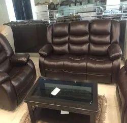 Kiran Designer Brown Leather recliners Sofa Set, For Home, Seating Capacity: 2