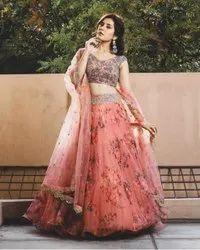 Present Heavy Net  With Embroidery Work Wedding Lahenaga Choli