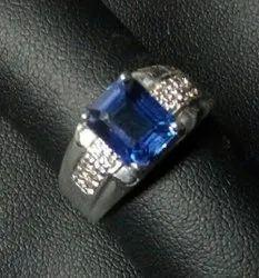 14K Mens Blue Sapphire White Gold Diamond Ring, 8.5g