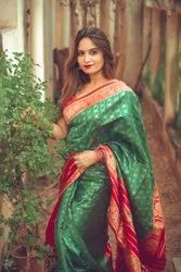 Traditional Kanchipuram Green With Red Color Saree
