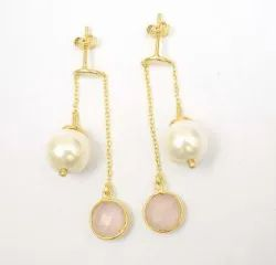 Fashionable Handmade New Design Hoop Earring with Pearl and Rose Quartz Gemstone