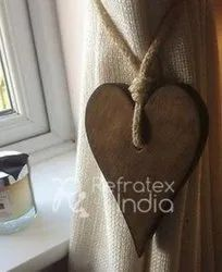 Heart Shape Wooden Curtain Tieback