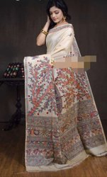 Red Printed Handloom Ghiccha silk with Madhubani Hand printings, For saree