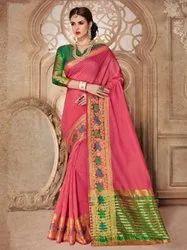 Pink Green Liva Silk Saree, 5.5 m (separate blouse piece)