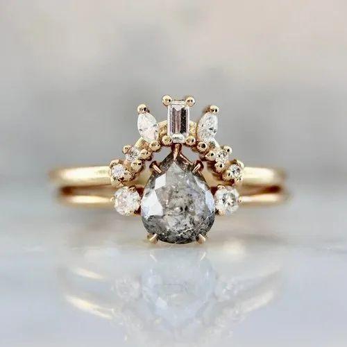 0 88ct Vintage Salt And Pepper Moissanite Engagement Ring Rose Gold Ring ह र क सग ई क अ ग ठ ड यम ड इ ग जम ट र ग Pramukh Impex Surat Id 23043141533