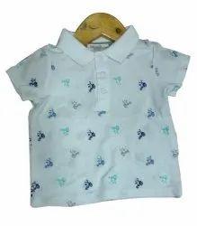 Casual Wear Half Sleeves Kids Designer Cotton Collar T Shirt