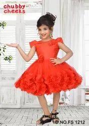 Girl Kids Party Wear Red Frock