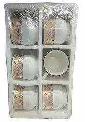 Round 90 ML Designer Ceramic Tea Cup, For Kitchen, Packaging Type: Carton Box
