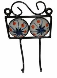 MS Screw in Hand Painted Ceramic Wall Hooks, Number Of Hooks: 2