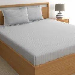 Satin Stripe Dyed Grey Bed Sheet