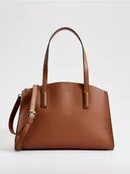 Leather Plain Ladies Brown Handbag