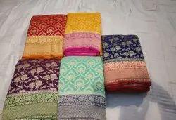 Weaved Ladies Khaddi Georgette Weeding Wear Saree, Saree Length: 6.5 m, With Blouse