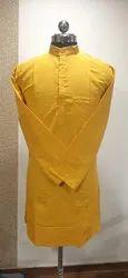 Straight Plain Yellow Khadi Cotton Kurta