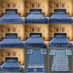 Hand Block Indigo Dabu Printed Cotton Bed Sheet