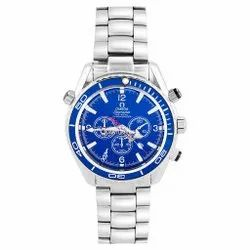Men Round Seamaster Diver Blue Dial Silver Bracelet Chronometer 007 Edition, For Personal Use