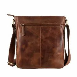Brown Unisex Leather Sling Bags