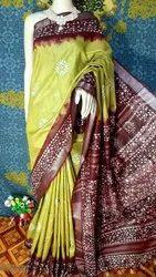 Casual Wear Green Cotton Batik Print Saree, 110 GSM, With Blouse Piece