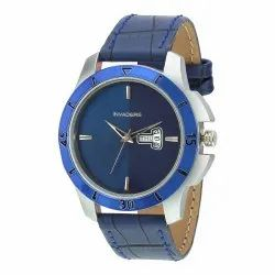 Blue Dial Day n Date Display Blue Leather Strap Analogue Wrist Watch for Men & Boy's