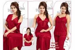 Half Self Ladies Night Wear Silky 4pc Nightwear, Size: Large